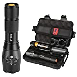 Tactical LED Flashlight 1200lm L2 Phixton Military Police Handheld Zoomable 5-Mode Aluminium Metal Water-resistant For Hiking Camping 18650 Rechargeable Battery,Charger, Pouch, Box, Bike Mount Included