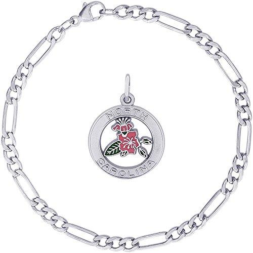 - Rembrandt Charms Sterling Silver Enameled North Carolina Azalea Charm on a Classic Figaro Bracelet, 8