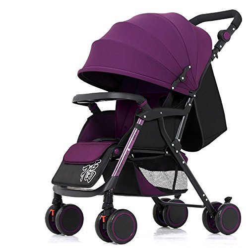 Red Seat Black Wine Frame (DACHUI Four-wheeled newborn baby carriages, baby trolleys, baby carriages, can sit and lie down to fold the baby carriage (Color dark purple))