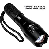 MBS LED Flashlight, 1000 Lumens Rechargeable Flashlight, Portable Zoomable and Waterproof, Handheld Flashlight, Adjustable Focus & 5 Light Modes, Ultra Bright Torch, brightest tactical flashlight