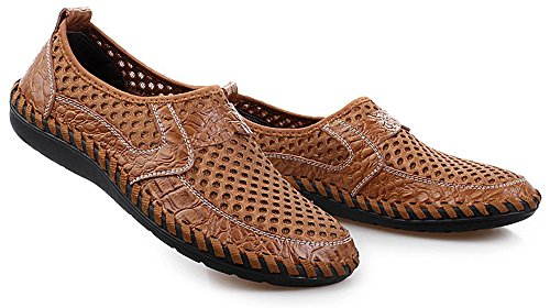 Gå Tur Menns Blonder-up Luft Mesh Pustende Walking Loafers Tilfeldige Tursko Brune