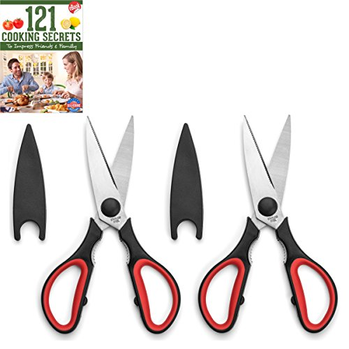 Ultra Sharp Kitchen Cooking Scissors, Heavy Duty, Serrated Stainless Steel Shears, Set of 2, Protective Cap, Dishwasher Safe, Plus Cooking Secrets (Kitchen Shears Dishwasher Safe)