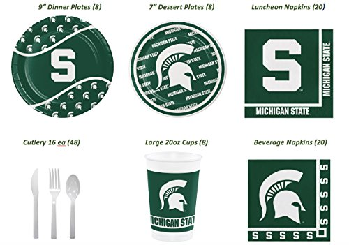 Official Michigan State Spartans Tailgate/Celebration Bundle (Serves 8): Dinner & Dessert/Snack Plates, Beverage & Lunch Napkins, Lg Plastic Cups and Cutlery 107 pcs
