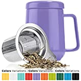 Tealyra - Peak Ceramic Purple Tea Cup Infuser - 19-ounce - Large Mug with Lid and Stainless Steel Infuser - Tea-For-One Perfect Set for Office and Home Uses - 580 milliliter