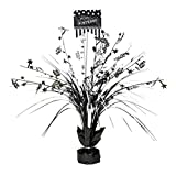 Amscan Classic Black and White Birthday Party Spray Table Centerpiece Decoration, 1 Pieces, Made from Foil, Black & White, 18'' by