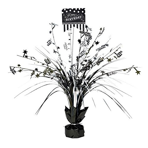 Amscan Classic Black and White Birthday Party Spray Table Centerpiece Decoration, 1 Pieces, Made from Foil, Black & White, 18'' by by Amscan
