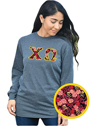 - Chi Omega Long Sleeve Exclusive Sorority Fabric Letter Shirt Dark Heather Grey