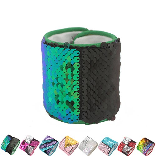 Mermaid Bracelet for Party Girls birthday Gifts party gifts for kids ,Two-color Reversible Charm Sequins Wristband Magic Calming Bracelets (Mermaid green and black 1pc)