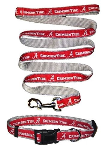 Alabama Crimson Tide Nylon Collar and Matching Nylon Leash for Pets (NCAA Official by Pets First) Size Medium by Pets First