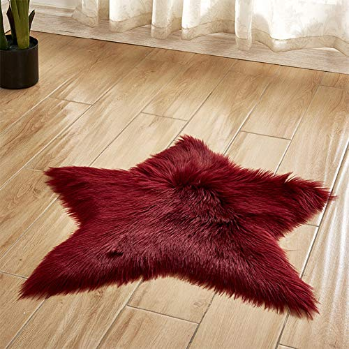 Star Design Soft Faux Sheepskin Rug Super Fluffy Silky Carpet for Bedroom Floor Sofa, Luxury Shaggy Mat for Playroom,Home Decor Friends Gift ()