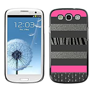 For SAMSUNG Galaxy S3 III / i9300 / i747 Case , Silver Lines Glitter Pattern Pink - Diseño Patrón Teléfono Caso Cubierta Case Bumper Duro Protección Case Cover Funda