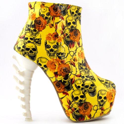 Show Story Yellow Skull Zip High-top Bone High Heel Hidden P