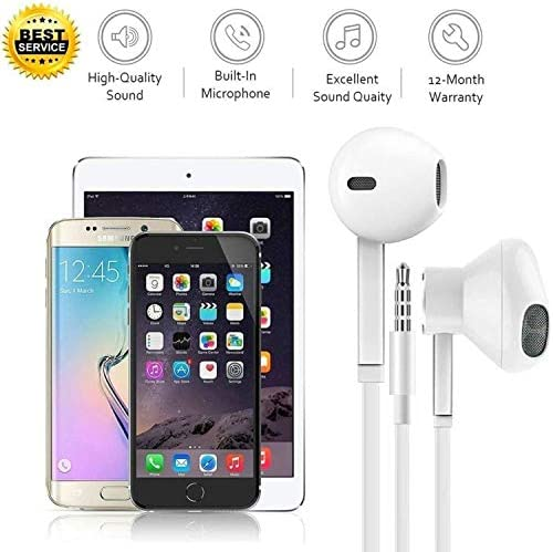 [Apple MFi Certified] 2 Pack-Apple Earbuds/Headphones/Earphones with 3.5mm Wired in-Ear Headphones Wired Earbud with Microphone Compatible with iPhone, iPod, iPad, MP3, Huawei, Samsung - White