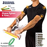 R • HORSE Arm Machine Workout, Arm Upper Body Workout Machine Brawn Training Device Forearm Wrist Exerciser Force Fitness Equipment with Fluorescent Wristband and 3 Resistance Bands