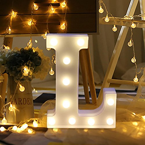 - XEDUO 26 A-&-Z Alphabet Letter LED Light Up White Plastic Letters Standing Hanging for Xmas Wedding Birthday Party Home Decor (L)
