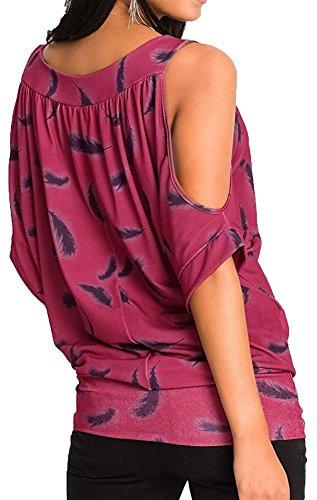 Minetom Mujeres Verano Atractivas Cuello Redondo Mangas Cortas Sin Hombro Blusas Tops Con Plumas Estampado Camisas Rojo