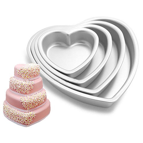 Cherion 4PC Aluminium Heart Shaped Cake Pan Set with Removable Bottom for Valentine's Day - 5'' 6'' 8'' 10'' by Cherion (Image #6)