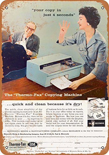 Wall-Color 9 x 12 METAL SIGN - 1958 Thermo-Fax Copying Machine - Vintage Look Reproduction