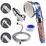 cool cheap shower heads Luxsego Ionic Shower Head with Replacement Hose and Holder, High Pressure & Water Saving Showerhead for Best Shower Experience, Anion Energy Ball Handheld Shower for Dry Hair & Skin SPA