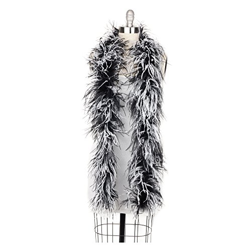 Zucker Flapper Ostrich Boa-Feather Halloween Cosplay Costume Accessory, 6 Feet, White and Black -