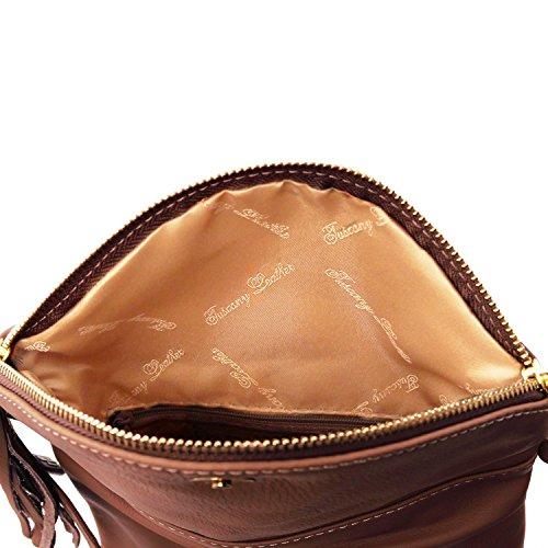Tuscany Leather TL Young Bag Bolso con bandolera y borla Marrón Bolsos de asa larga Marrón