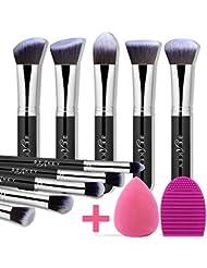 BEAKEY Makeup Brush Set, Premium Synthetic Kabuki Foundation Face Powder Blush Eyeshadow Brushes Makeup Brush Kit with Blender Sponge and Brush Cleaner (10+2pcs, Black/Silver)