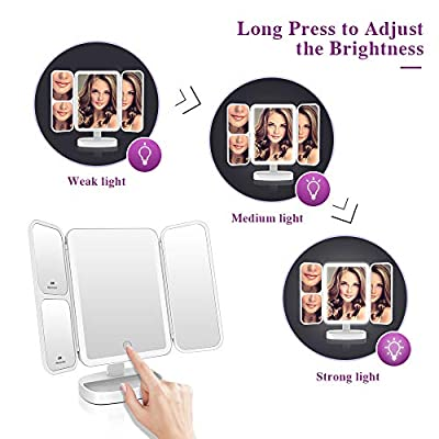 Easehold Led Lighted Vanity Mirror Make Up Tri-Fold with 38Pcs Lights Ultra-Thin 2x/5x/10x Magnifying 180 Degree Free Rotation Table Countertop Cosmetic Bathroom Mirror