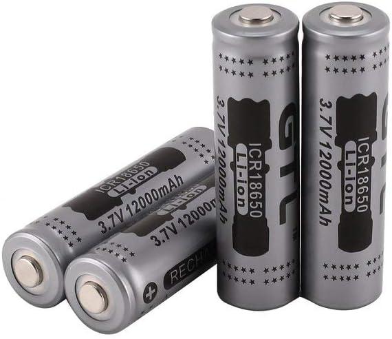 RoxTop Bater/ía Recargable 18650 Bateria 12000mAh 3,7 V Li-Ion Litio Bater/ía 1000Ciclos Larga Vida 18650 Recargable Baterias con Caja de Almacenamiento Linterna LED 12 Piezas Gris
