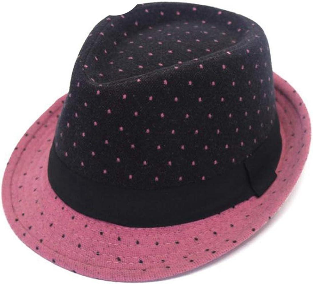 Fedora Hats Unisex Men Women Lightweight Short Brim Dance Jazz Hats Panama Gangster Cap Beach Sun Hat with Dots