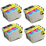 16 Pack - Toners & More ® Remanufactured Inkjet Cartridge Set for Epson T127 #127, T127120 Black, T127220 Cyan, T127320 Magenta, T127420 Yellow, Compatible with Epson Stylus NX625, NX530, WorkForce 633, 630, 635, 840, 645, 845, WF-7010, WF-7510, WF-7520, 60, 545, WF-3540, WF-3520, WF-3530