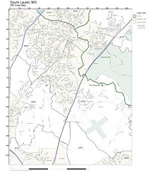 Laurel Md Zip Code Map.Amazon Com Zip Code Wall Map Of South Laurel Md Zip Code Map