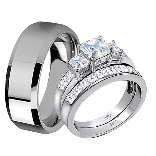 Couple Rings Matching Ring Stainless Steel Ring for Men a...