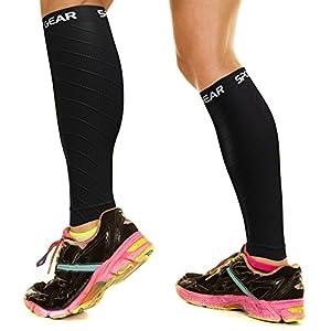 Physix Gear Sport Compression Calf Sleeves for Men & Women (20-30mmhg) - Best Footless Compression Socks for Shin Splints, Running, Leg Pain, Nurses & Pregnancy - Increase Circulation - BLK S/M - M/L