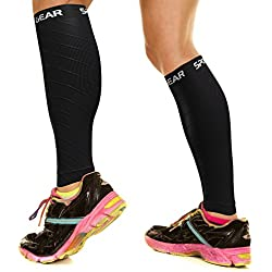 Physix Gear Sport Compression Calf Sleeves for Men & Women (20-30mmhg) - Best Footless Compression Socks for Shin Splints, Running, Leg Pain, Nurses & Pregnancy - Increase Circulation - BLK S/M - M/L