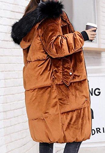 Long Fur Women's Lining amp;S amp;W Cotton Parka M Faux Coat 1 Velvet Jacket Hooded wZYqIEE