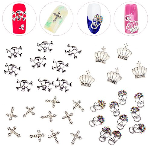 Premium Quality Nail Art Set of Metal 3D Decorations In Different Designs / Shapes Including Silver Skulls, Skulls With Rhinestones, Crowns With Crystals And Crosses With Jewels By (Gemstone Crown)