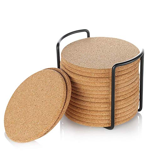 Natural Cork Coaster with Holder, Absorbent Coaster for Wine, Best for Drinks in Office, Home, or Cottage,Round, Set of 16, 4 inches by LAUCHUH