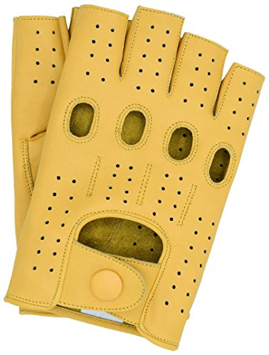 - Riparo Motorsports Men's Fingerless Half Finger Driving Fitness Motorcycle Cycling Unlined Leather Gloves (Large, Camel)