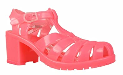 7e168e57b533 Womens Ladies High Heel Gladiator Buckle Strap Jelly Sandals Jellies Shoes  Sizes (UK 6