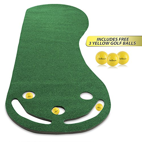 Golf Putting Green Grassroots Mat – 9ft by 3ft – Includes Free 3 Yellow Golf Balls – Ideal for Outdoor & Indoor – for Practicing, Training – Thicker and Wider Surface – For All Ages!