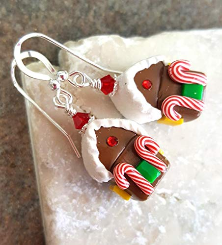 Fancy Gingerbread - Gingerbread House Christmas Earrings Sterling Silver