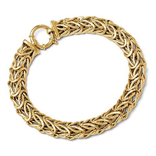 - 14k Yellow Gold Italian 9mm Fancy Byzantine Chain Bracelet, 7.5 Inch
