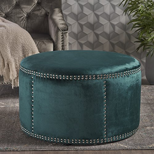 Christopher Knight Home 302205 Jesper Round Velvet Ottoman Studded Accents in Teal,