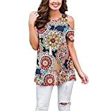 Luranee Nice Shirts for Women, Misses Cold Shoulder Polyester Tunics Career Blouses Short Sleeve Crew Neck Pleated Flared Sexy Admirable Adorable Lightweight Basic Tee Sun Flower Prints Large