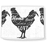 Love and Share Rooster II, 12'' x 10'' Lamp Shade, White/Dark Gray, Multicolor