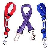 Dog Car Seat Belt,Lonni Adjustable Dogs Safety Seatbelts Nylon Harness Lead Leash Vehicle Strap Pets, Set of 3 (Random Color,0.98 * 29.5inch)