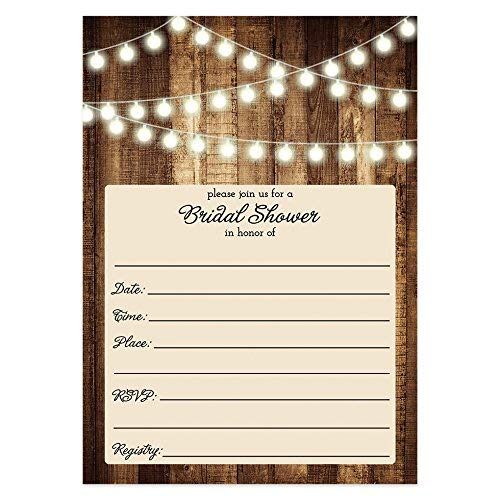 Rustic Bridal Shower Invitations with Envelopes (Pack of 50) Wood & Lights Fill In Bridal Shower Invites Excellent Value Wedding Party Invitations VI0007 -