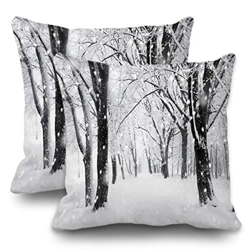 Batmerry Winter Pillow Covers 18x18 Inch Set of 2, Winter Scenes with Snow Covered Trees Double Sided Decorative Pillows Cases Throw Pillows Covers