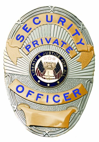 Security Private Officer Gold on Silver Shield Badge - Security Gold Badge