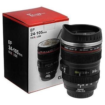 PA Camera Lens Shaped Coffee Mug with Lid, 350 ml, Black
